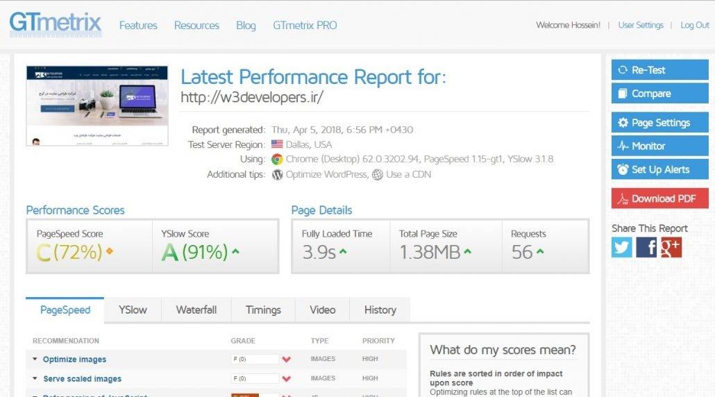 تست سرعت شرکت طراحی سایت w3developers در gtmetrix