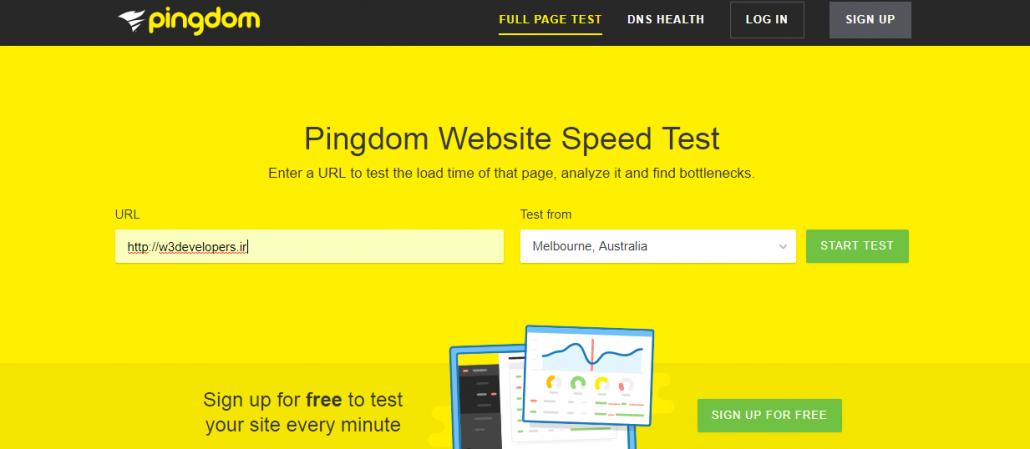 تست سرعت شرکت طراحی سایت w3developers در pingdom